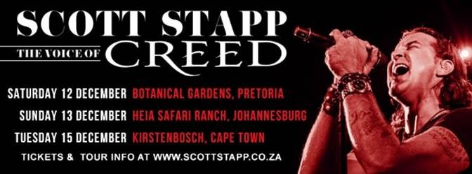 Support Acts Announced For Scott Stapp – The Voice of Creed – SA Tour in December